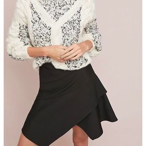 Anthropologie Maeve | Layered Mini Skirt in Black
